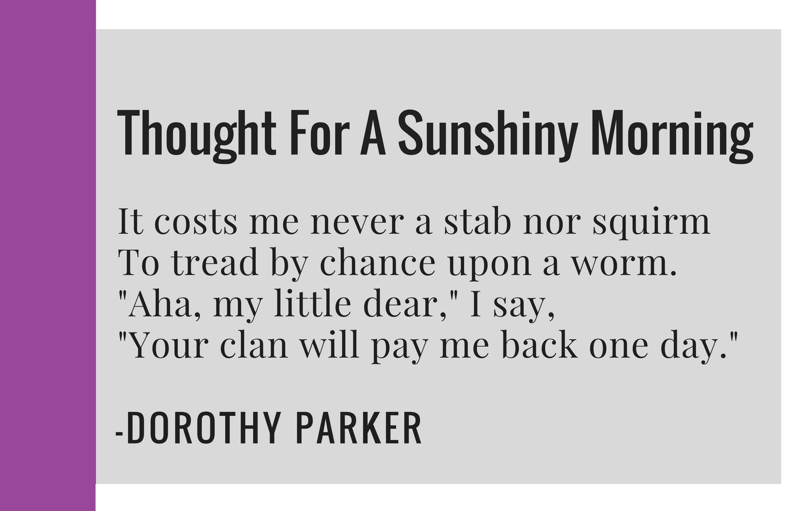 Thought For A Sunshiny Morning